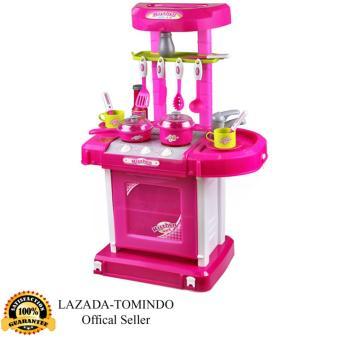 Tomindo Toys Mainan Anak Kitchen Set Luggage Pink / kitchen koper pink / Masak Masakan / mainan dapur  008-58