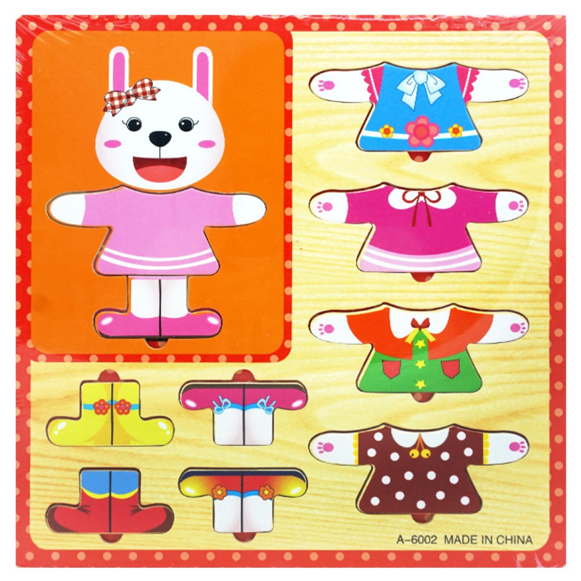 ... TSH Mainan Edukasi Puzzle Hewan Cewe Ganti Baju 3D Jigsaw kayu Multi Colour