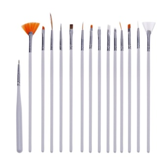 15pcs Nail Art Lines Painting Pen Brush Set Gel Polish Tips Manicure Tools(White) - intl