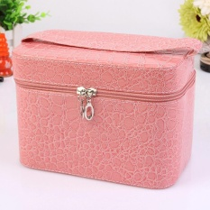 1x Fashion PU Leather Stone Pattern Cosmetic Makeup Box Case Suitcase Toiletry Organizer Storage Handbag Pink