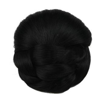 Harga 360DSC rambut kepang rambut sintetis sanggul jepit rambut di sanggul rambut palsu – hitam – Internasional Murah