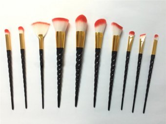 Ai Home 10pcs Unicorn Thread Makeup Cosmetic Brushes Set (Black) - intl