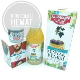 Harga Al Khodry Paket Herbal Cream Kemiri Dan Minyak Sari Kemiri Gold Plus Zaitun – Untuk melebatkan, meghitamkan dan menumbuhkan rambut, kumis, jenggot, bewok secara alami Murah