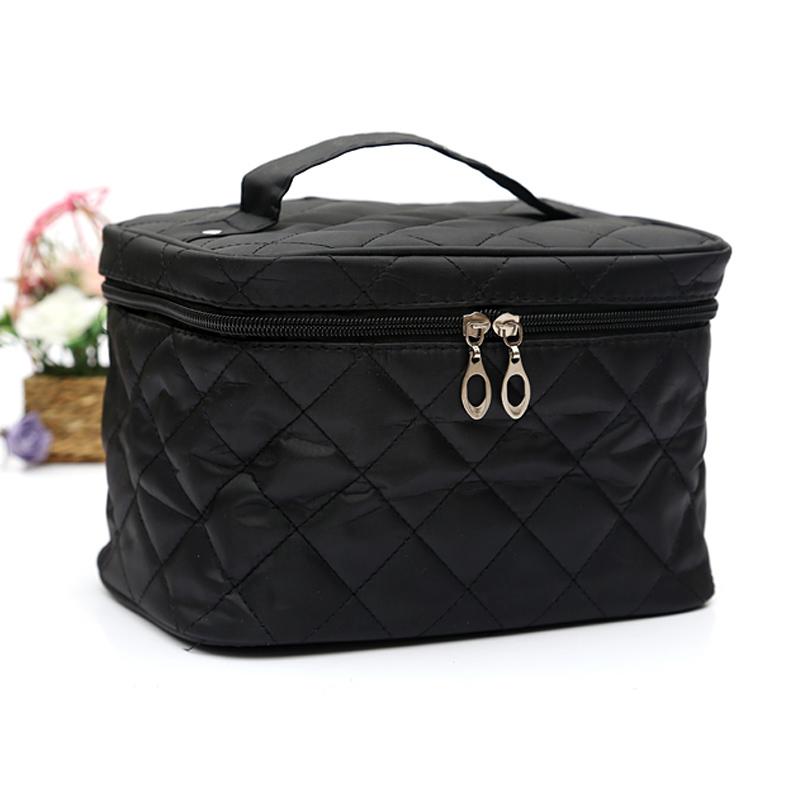 Amart tas wanita kotak kosmetik bepergian perlengkapan mandi berlapis kapas hitam - intl