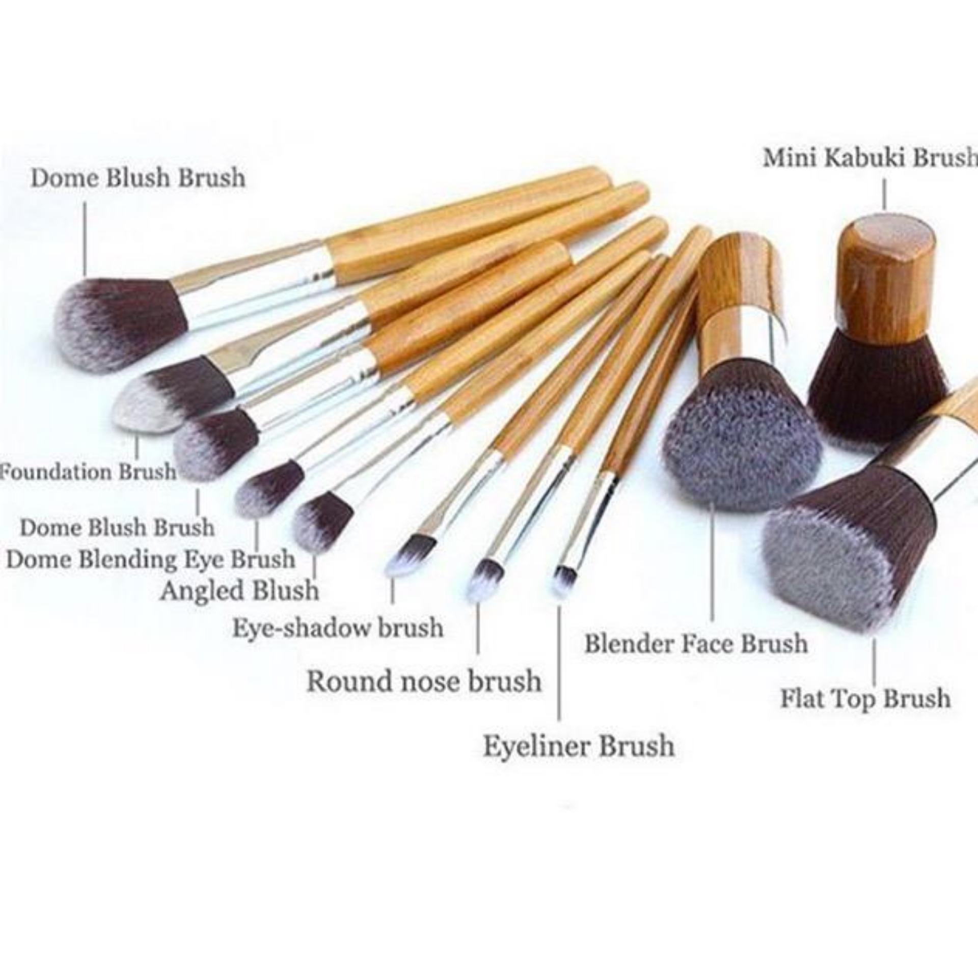 Vienna Linz Kuas Make Up Cosmetic Brush 11 Pcs With Pouch Jbs New York Dompet Tas Makeup Maroon Bamb Set