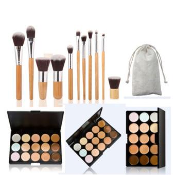 Benefit Cosmetics 11 buah bambu portabel Set kuas Foundation make up Set + 15warna palet make