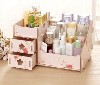 BEST Rak Kayu Kosmetik 02 Storage Box Cosmetic / Stationary Tempat Organizer - FLOWER