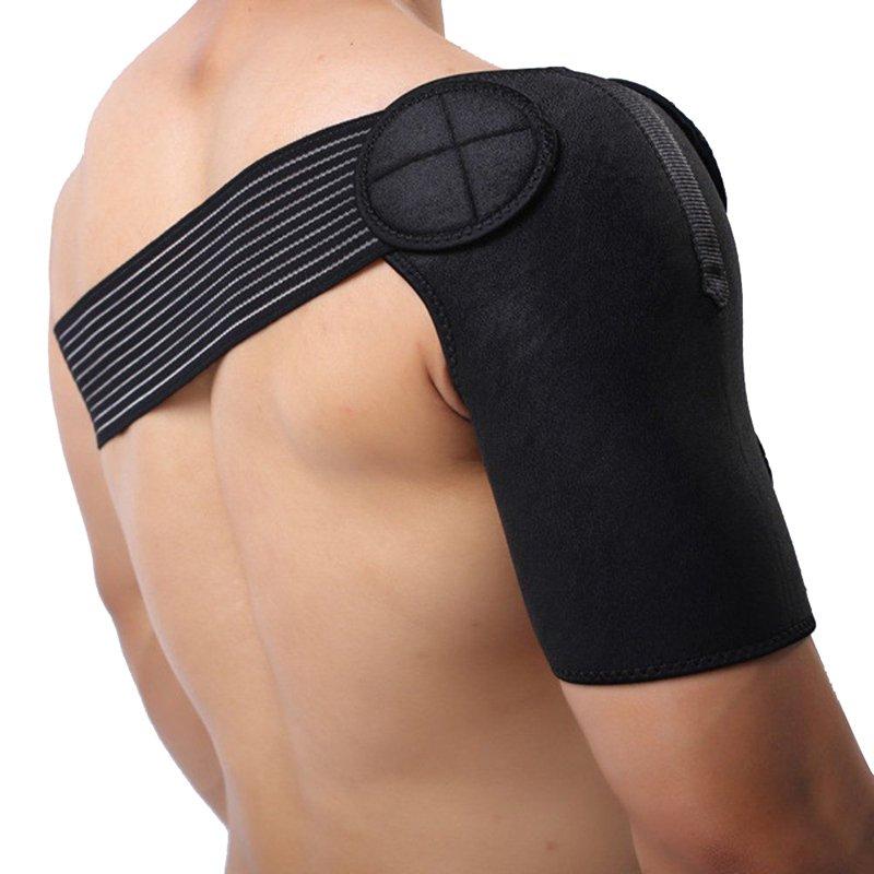 Cocotina 1 x Olahraga Disesuaikan Tali Bahu Pendukung Bungkus Perban Kompresi Perlindungan Pereda Nyeri (Hitam)