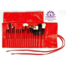 Cosmetic Makeup Brush Set of 18 Superior Quality Brushes in Red Rollup Travel Bag - - intl