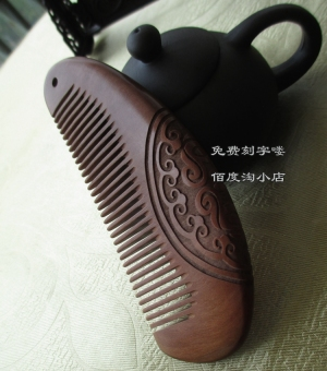 Harga Dewi huruf cendana kayu solid diukir hadiah liburan Hijau Tan sisir mahoni sisir Murah
