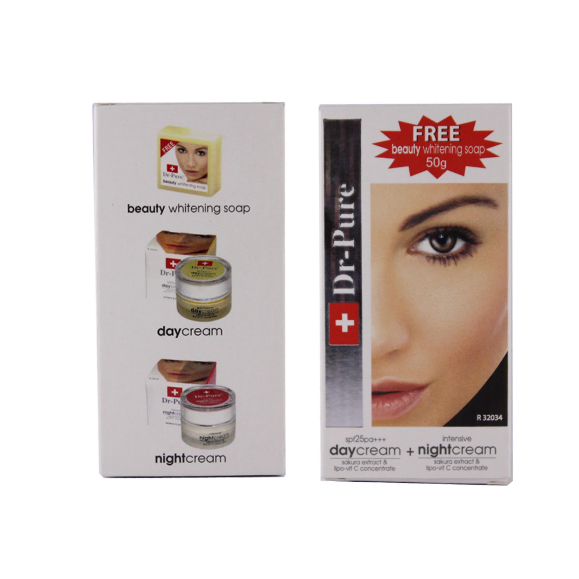 Dr Pure Paket Whitening Cream 20gr (Day & Night) Free Sabun 50gr Dr. ...
