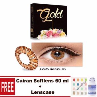 Exoticon X2 Ice Gold Softlens - Hazel Free Lenscase + Cairan 60ml