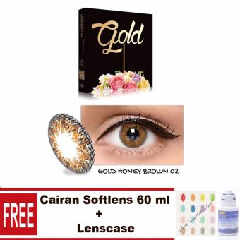Exoticon X2 Ice Gold Softlens - Honey Brown Free Lenscase + Cairan60ml