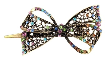 fehiba Vintage Palace Style Crystal Rhinestone Butterfly Bowknot Fashion Hair Clips,Multicolor - intl