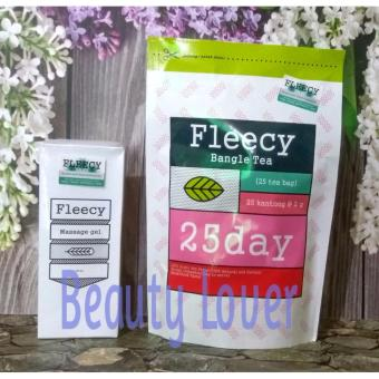 Fleecy Paket Pelangsing Bangle Tea dan Massage Gel / Slimming Gel New Pack Original