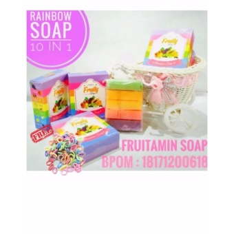 Fruity Rainbow Soap 10 in 1 Whitening Soap Fruitamin Original Sabun Pemutih Badan BPOM - 1Pc + Free Ikat Rambut - 1 Pcs