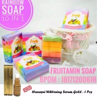 Fruity Rainbow Soap 10 in 1 Whitening Soap Fruitamin Sabun Pemutih Badan + Free Whitening Serum Gold Hanasui Jaya Mandiri BPOM - 1 Botol
