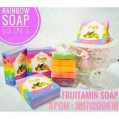 Fruity Rainbow Soap 10 in 1 Whitening Soap Fruitamin Sabun Pemutih Badan - Memudarkan Jerawat Bekas Luka Whitening Kulit Cerah Berseri - 1 Pcs
