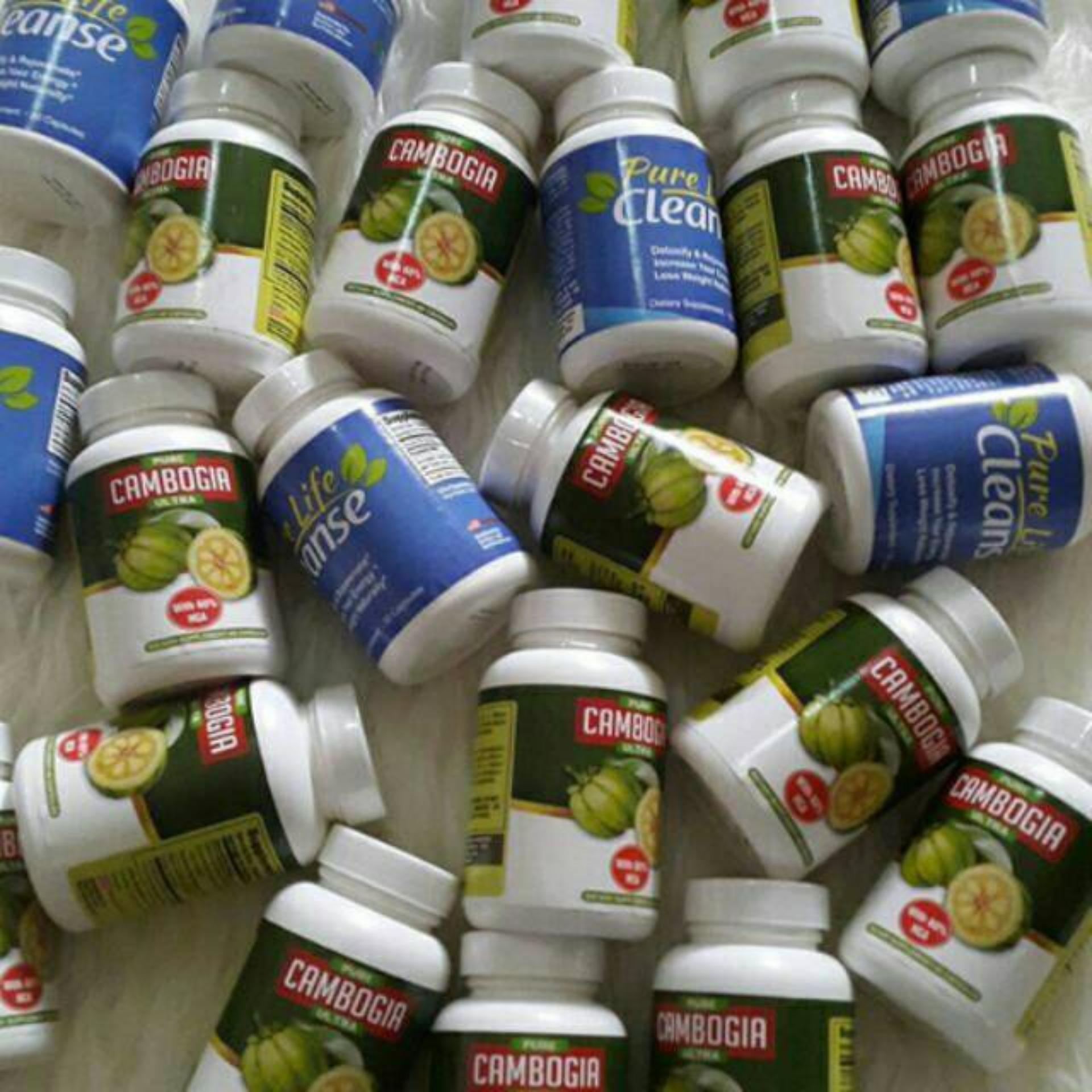 Garcinia Pure Cambogia Ultra + Pure Life Cleanse Detox Colon/Usus - Paket Pelangsing 1 Set Original USA By BiotrimLabs