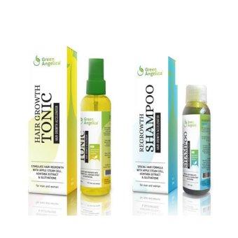 Green Angelica Penumbuh Rambut dan Pencegah Rambut Rontok Hair Tonic + Shampoo