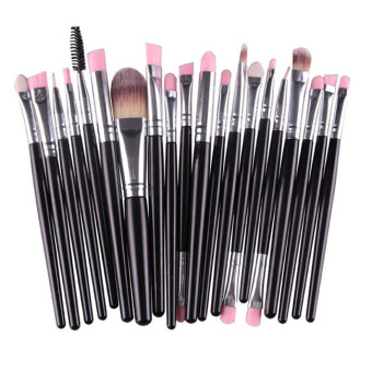 HengSong 20 buah/Set kuas Make Up Set kuas Make Up alat Make Up Kit perlengkapan mandi hitam Silver - International