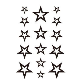 Harga Hequ Unisex Fashion Hollow Stars Waterproof Disposable Tattoo Black