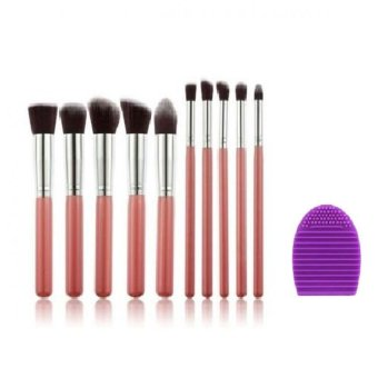 Harga AIUEO - Makeup Brushes Set Kit Cosmetic Tool Powder Foundation Eyeshadow Brush 10 Pcs Bundling Brush Egg Pembersih Kuas Make Up Random Color