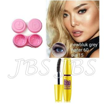 Harga Newbluk Softlens - Gray + Lenscase  - Mascara The Fals Lash Volume Express - Mascara Waterproof - Hitam