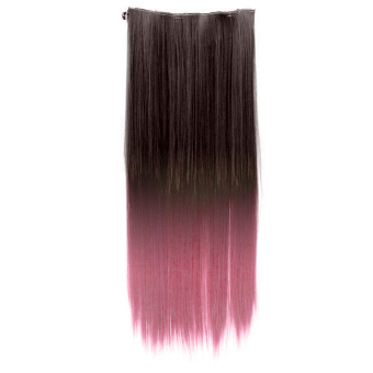 Harga One Piece Synthetic Straight Two Tone Ombre Hairpiece Clip-on Wig Hair Extension Beauty Tool Black to Pink