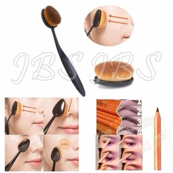 Harga JBS Paket Kuas - Oval Brush / Kuas Make Up Oval Brush / Oval Foundation Brush / Kuas Make Up - Pensil Alis - Eyebrow Pensil - Coklat