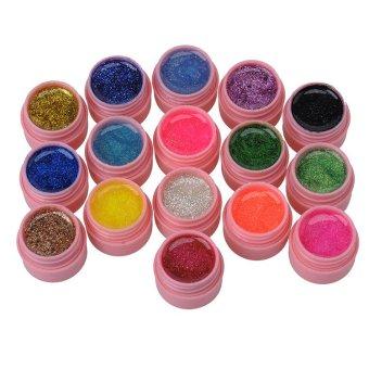 Kosmetik Baru 16 buah campuran warna kilau sinar uv gel pembangun Akrilik untuk Nail Art Tips