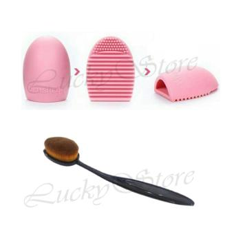 Harga Lucky Pembersih Kuas Make Up / Makeup Removers Multicolour + Oval Brush / Kuas Make Up Oval Brush / Oval Foundation Brush / Kuas Make Up