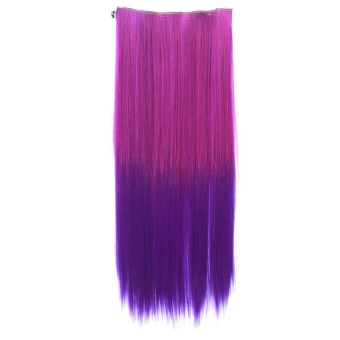 Harga One Piece Synthetic Straight Two Tone Ombre Hairpiece Clip-on Wig Hair Extension Beauty Tool Rose to Dark Purple