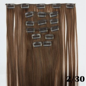 Harga Hair Extension Perpanjangan Rambut model klip clip wigs long straight 60 cm 230