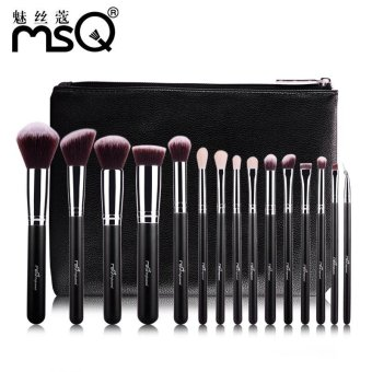 Harga MSQ 15pcs Professional Makeup Brushes Set Make Up Brushes High Quality Synthetic Hair with PU Leather Case for Beauty - intl