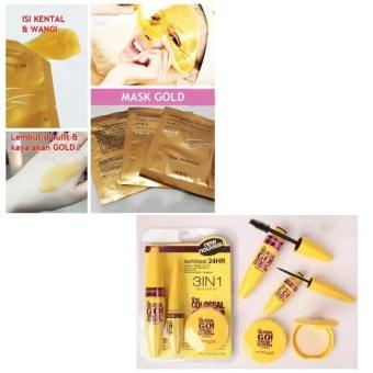 JBS Mascara Set 3in1 - Paket Mascara, Eyeliner dan Bedak - Mask Gold - Masker