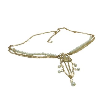 Harga Fang Fang Pearl Bead Women Head Chain Jewelry Headpiece Hair Band (Gold)