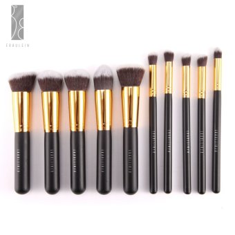 Harga Fraulein38 Foundation Kuas Set Make up Brush 10 Pcs Top Quality Kabuki Brushes Set Black Gold