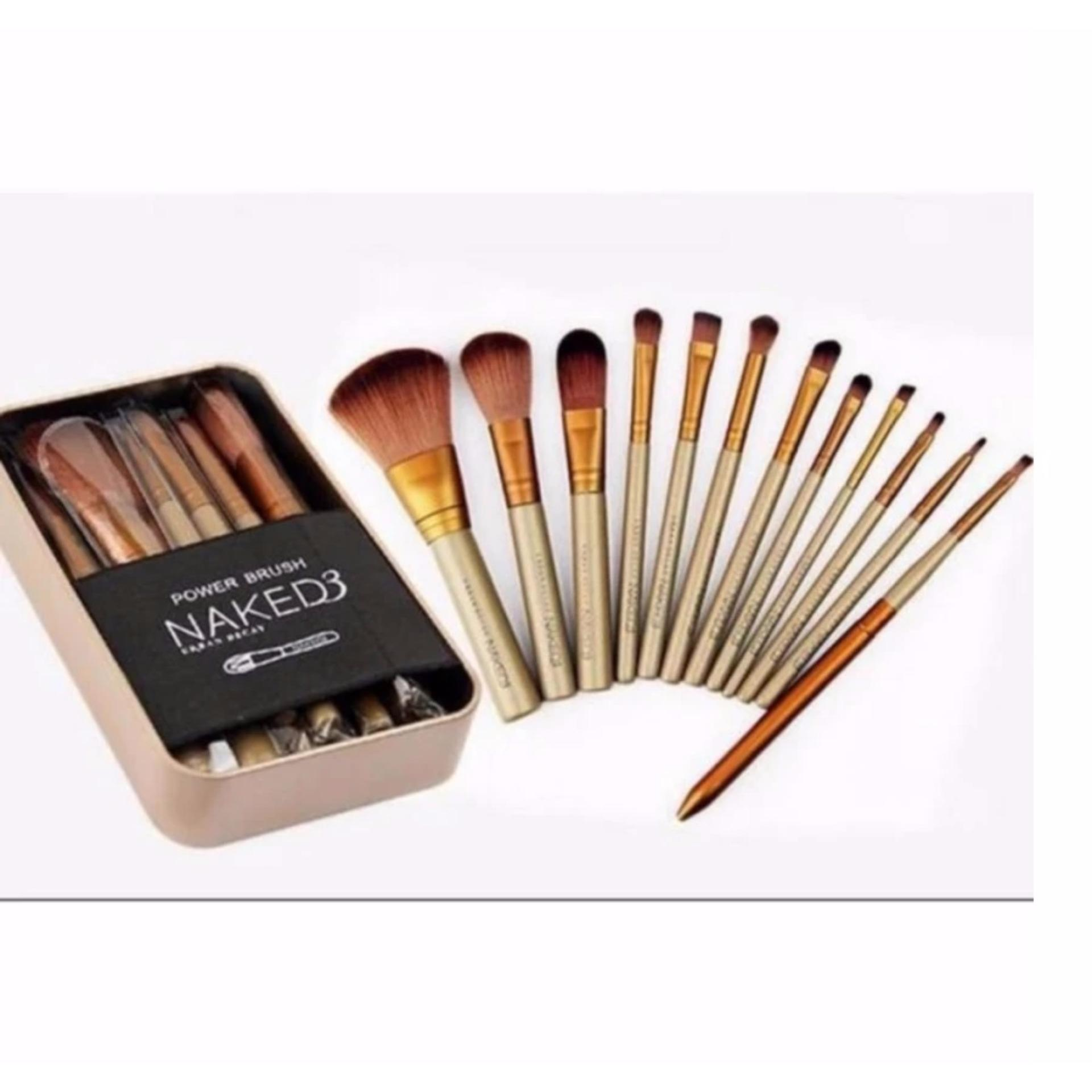 Flash Sale Kuas Make Up Naked3 Set 12Pcs Kemasan Kaleng |Makeup Brush