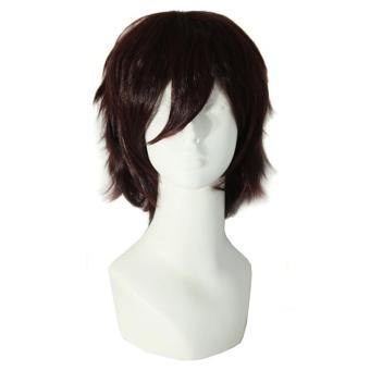 Harga La Vie pendek pria gaun pesta kostum Cosplay wig yang mahakuasa (coklat) Murah