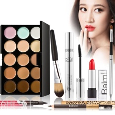 Makeup Luxurious Set 7Pcs Gift Pack 15 Color Cream Camouflage Concealers Palette Earth Tone Eyeliner Mascara