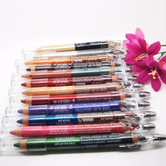 Mesh Make Up Pencil Qia Qia WaterProof Double Pencil Eyeshadow & Lipliner Waterproof Lasting Effect 12 pcs