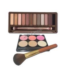 N2 Eyeshadow 12 Warna + Palette Blush On 3 Warna, Powder Bedak 3 Warna + Kuas 1pc