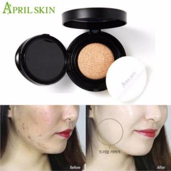 NEW APRILSKIN April Skin Magic Snow Cushion Black 2.0 Mochi RENEWAL Bedak Makeup Foundation Make up Korea Best Seller - Light Beige - 2