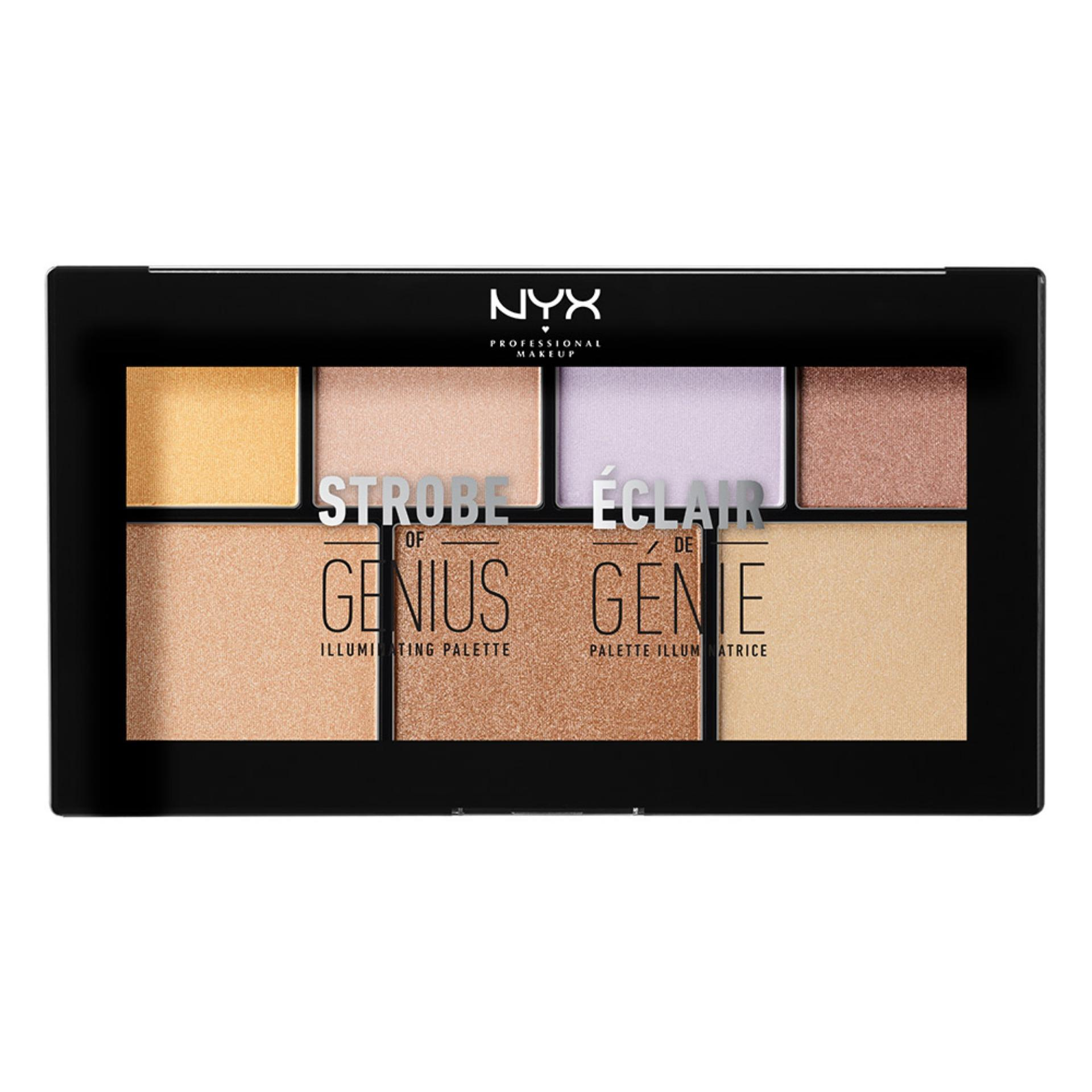 NYX Professional Makeup Strobe of Genius - Multicolor Shimmer & Highlighter Palette Palet .
