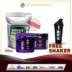 Optimum Nutrition Serious Mass Gainer 2lb Eceran + EAS Creatine + Preworkout FREE Shaker EAS