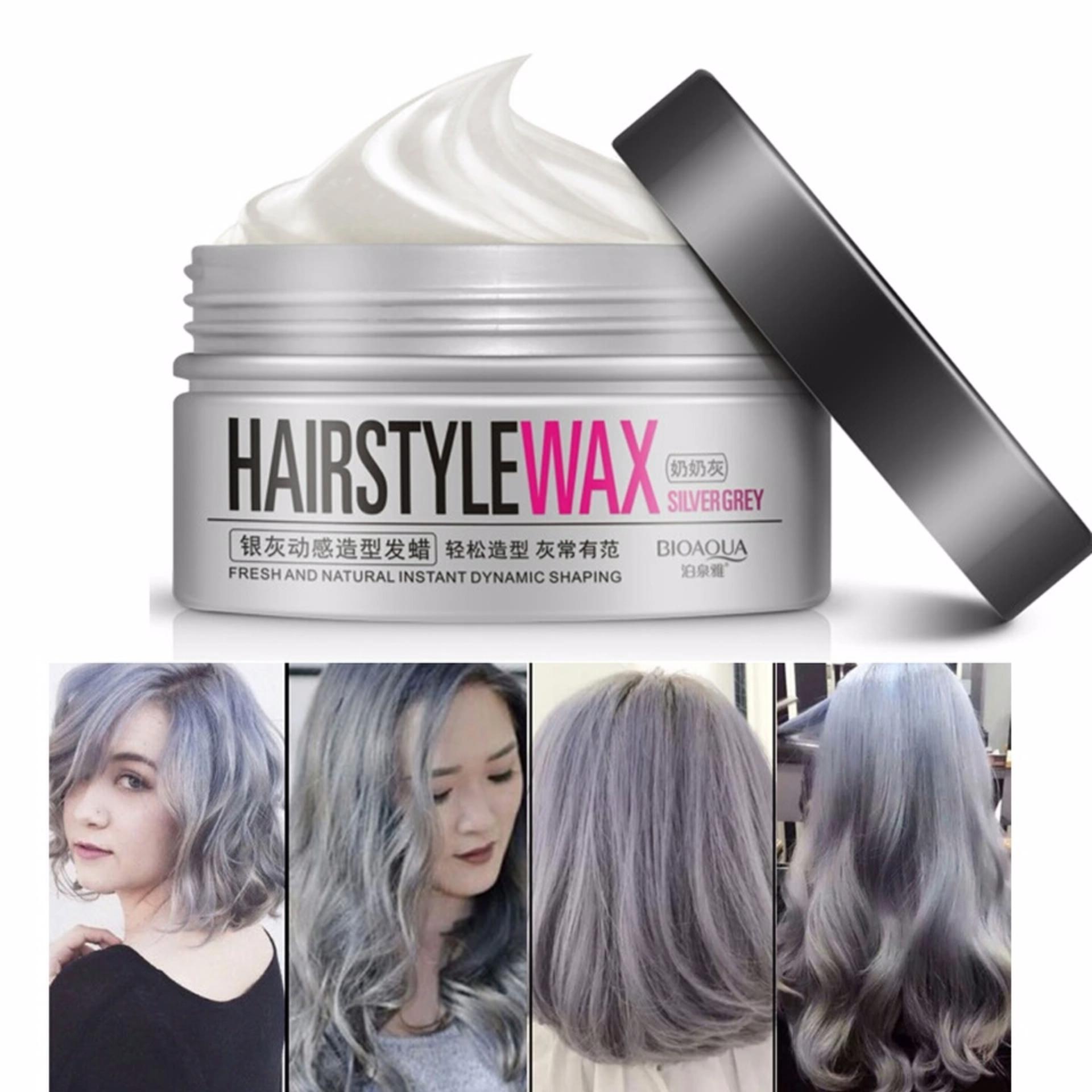 HARGA Original Bioaqua Hairstyle Wax Pewarna Rambut Pria Wanita Pomade 100g – Silver Grey – Paling Laris Terbagus
