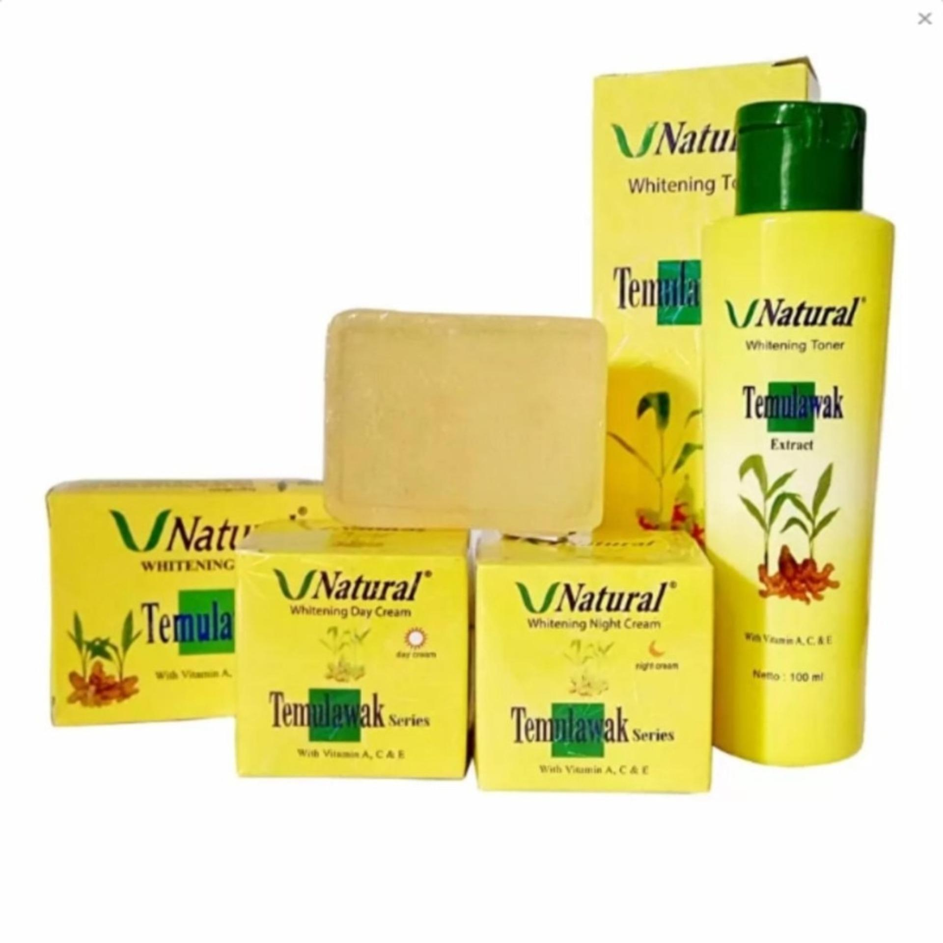 Flash Sale Paket Lengkap Cream Temulawak V-Natural Asli - Temulawak V Natural BPOM (Cream Siang, Cream Malam, Sabun dan Toner)
