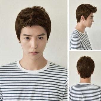 Harga Pesawat OEM wignya mahasiswa laki-laki dan anak laki-laki tampanKorea pendek rambut wig coklat muda Murah