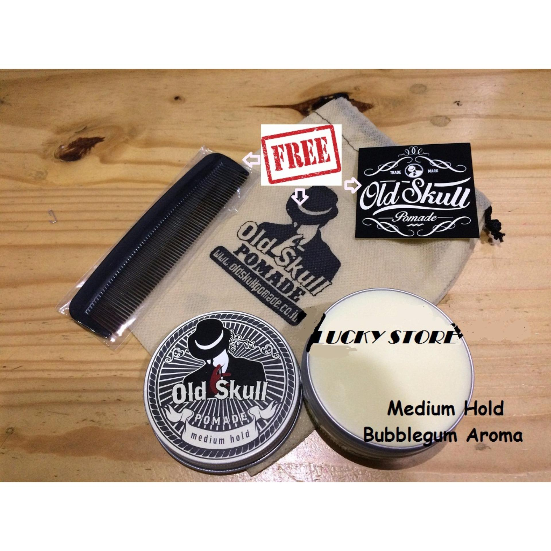 REVIEW Pomade Oldskull Medium Hold Bubble Gum + Free Pouch + Free Bubble Wrap + Free Sisir Terpopuler